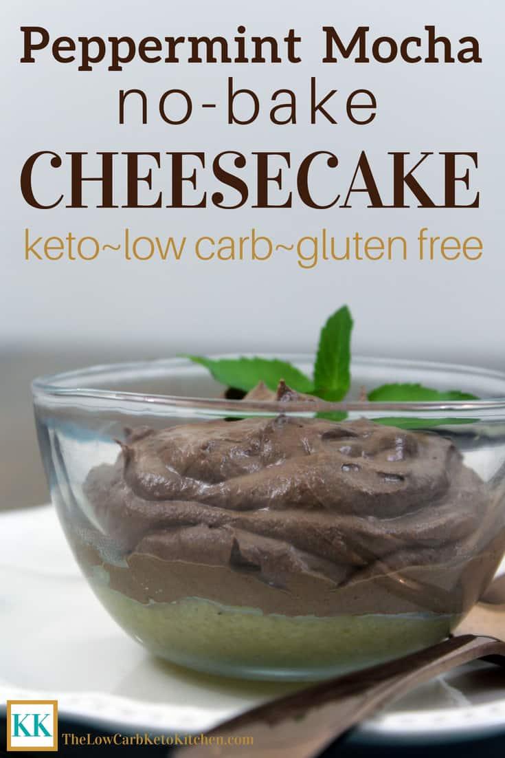 Peppermint Mocha No-Bake Keto Cheesecake