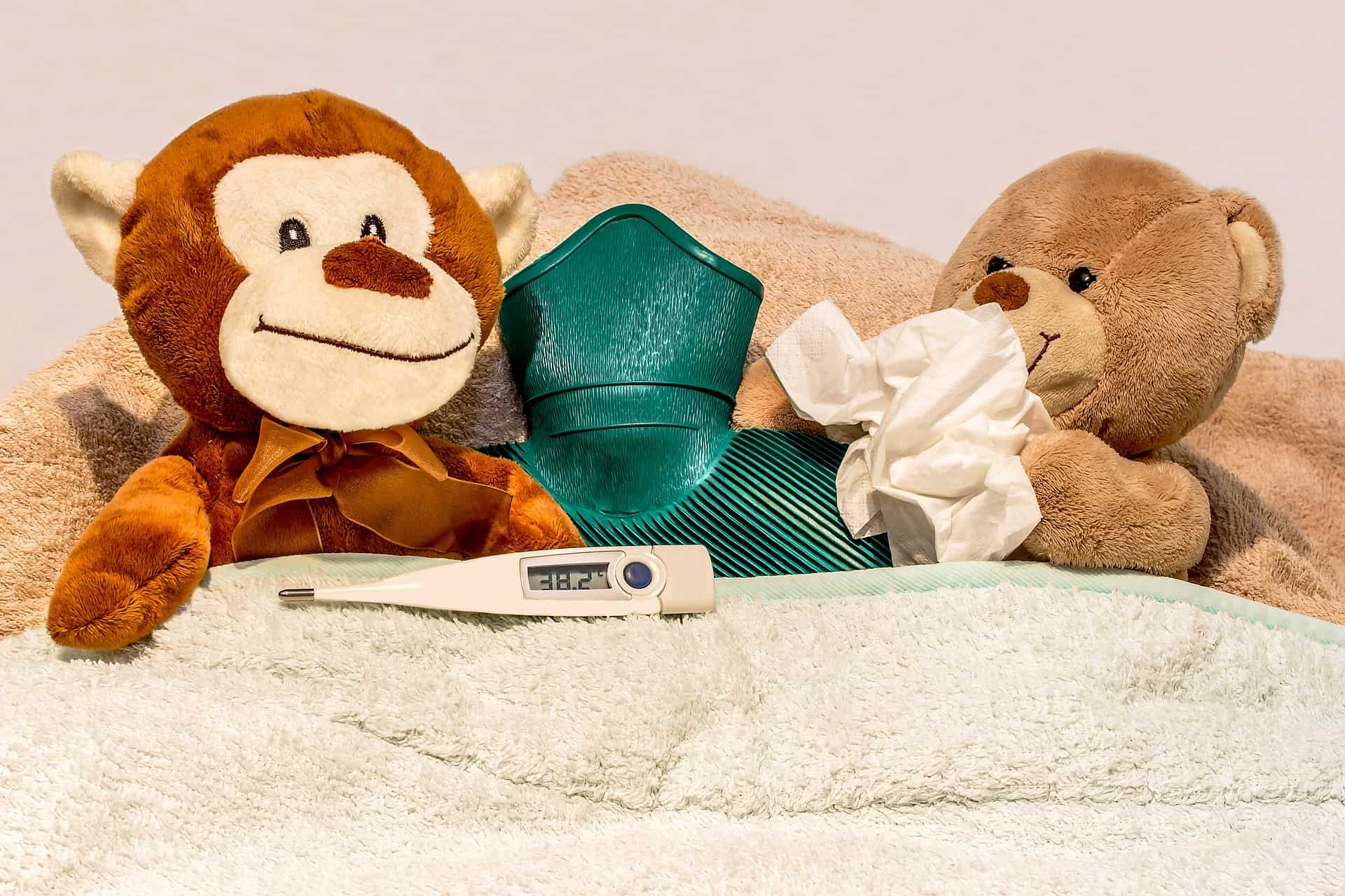 sick teddy and friend