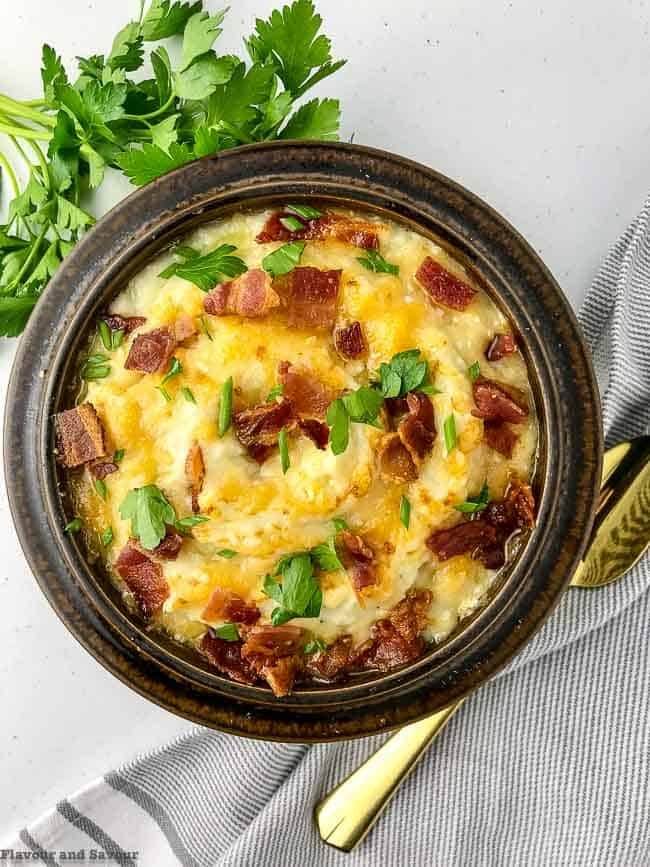 Mashed Cauliflower with Bacon and Cheese