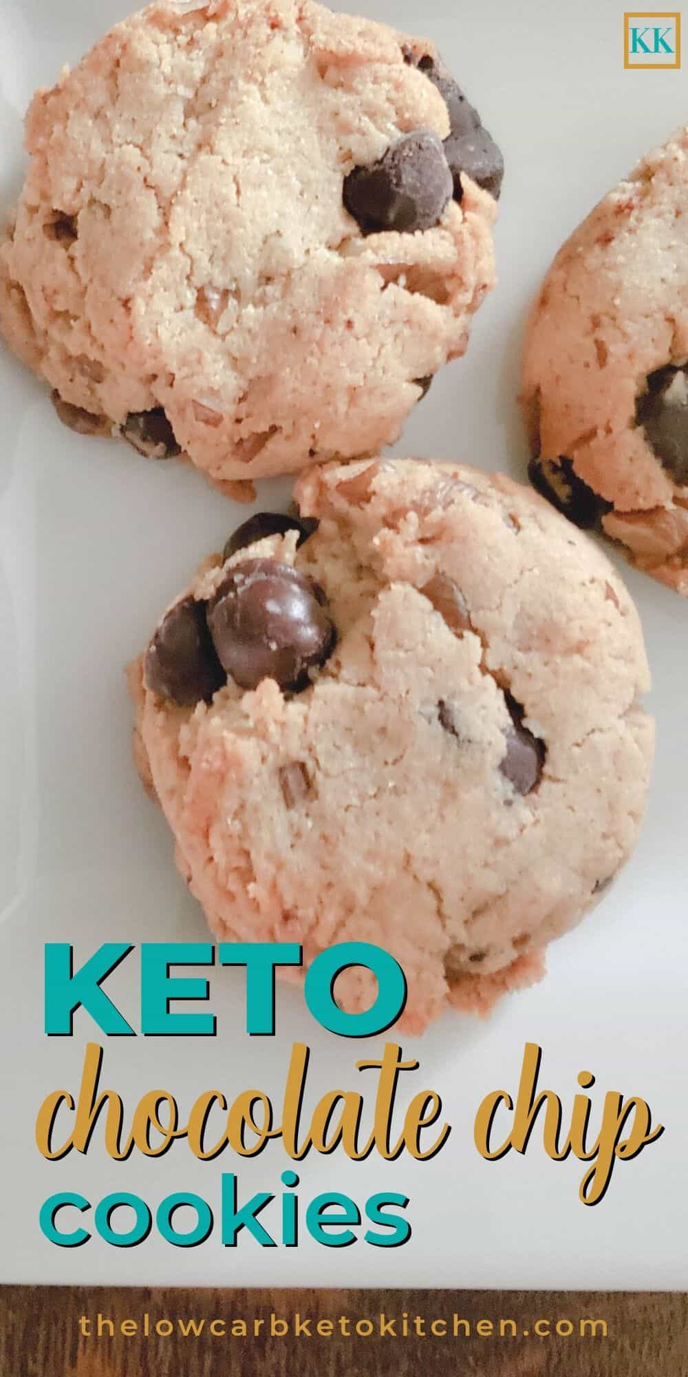Keto chocolate chip cookies on white plate