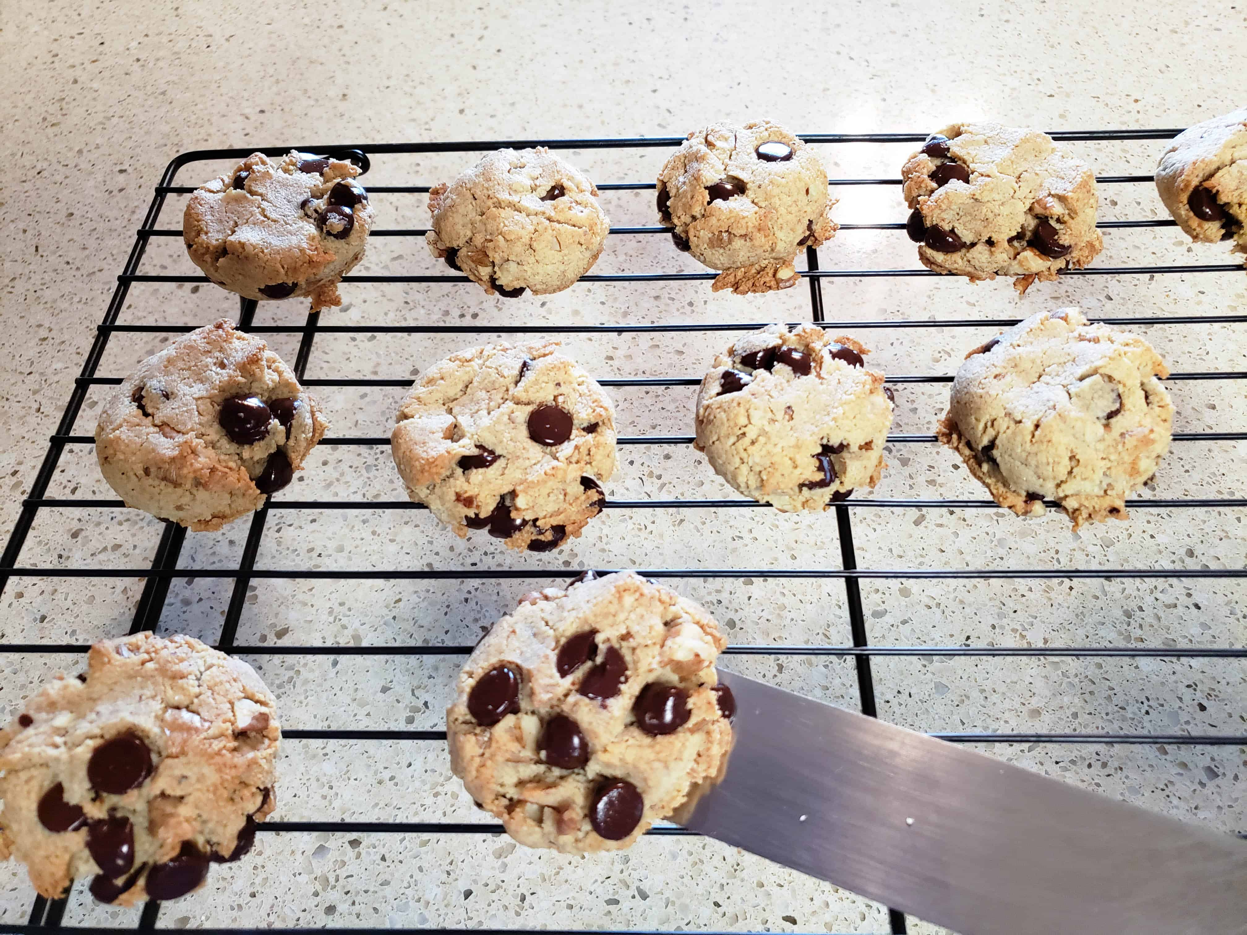Keto Chocolate Chip cookies on the cooling rack
